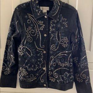 VGC Black beaded stretch denim jacket sz M w snaps